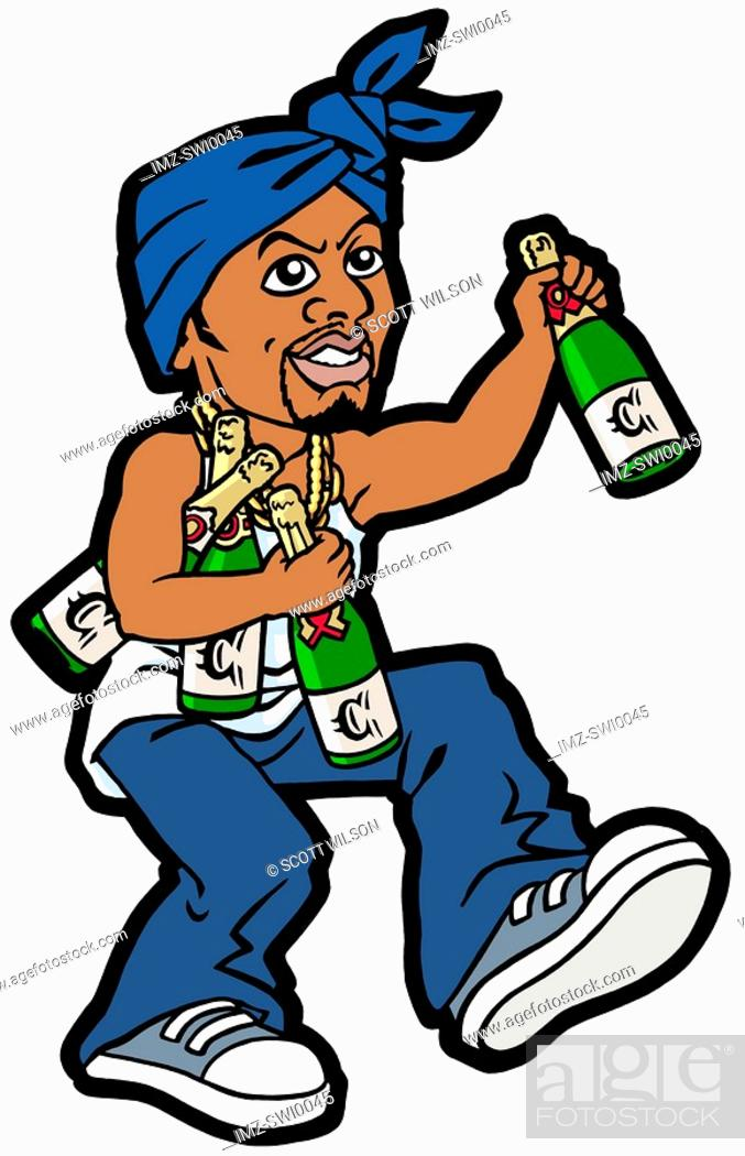 Stock Photo: An illustration of a man with numerous bottles of champagne and a blue scarf tied around his head.