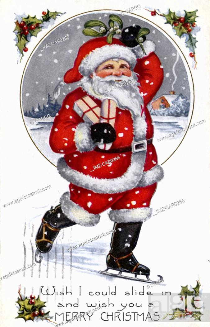 Stock Photo: Vintage Christmas postcard of Santa ice skating while holding presents.