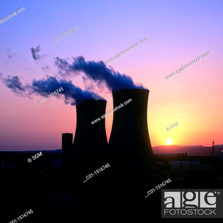 Stock Photo: Nuclear power plant 'Cruas-Meysse' at sunset, Tricastin, Provence, France.