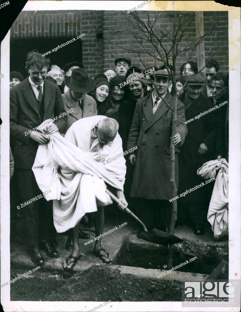 Stock Photo: Dec. 12, 1931 - Gandhi Plants Tree Outside Ringsley Hall: Mr. Gandhi planted a tree outside Eingsley Hall, Bow, E. this morning in memory of his stay there.