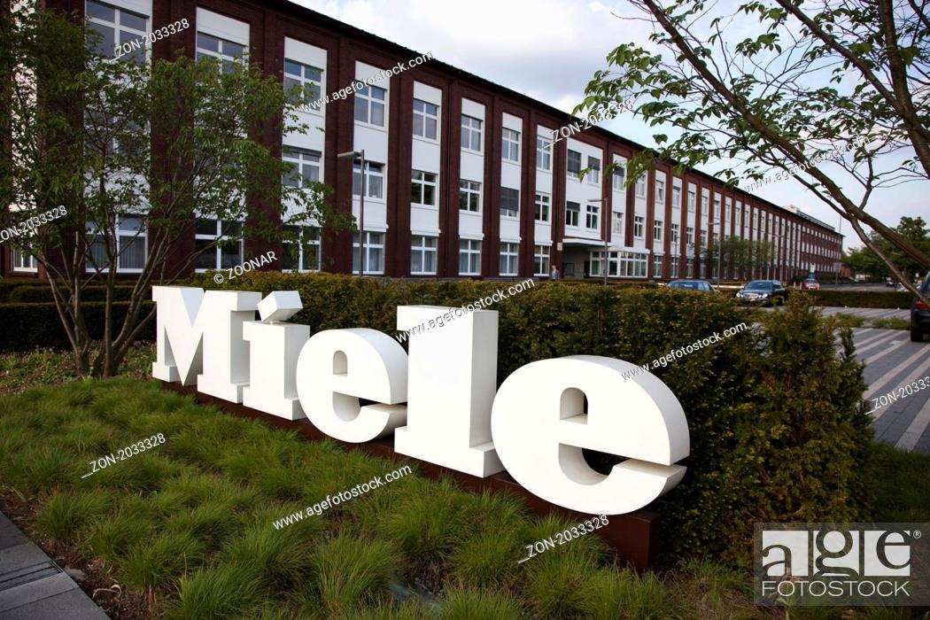 Main Entrance To The Works Of Miele In Gutersloh Stock