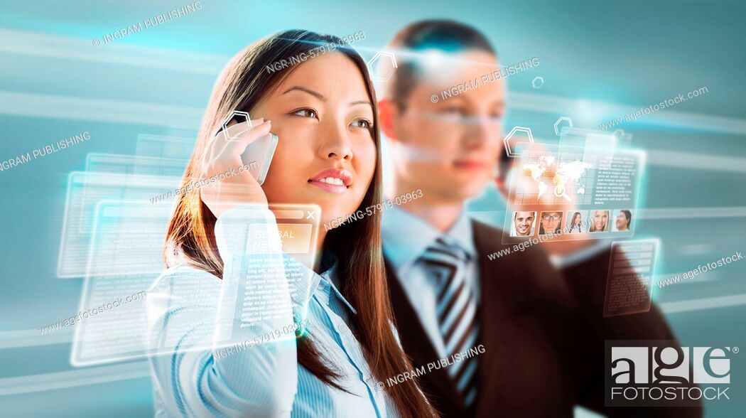 Stock Photo: Business people against hightech background.