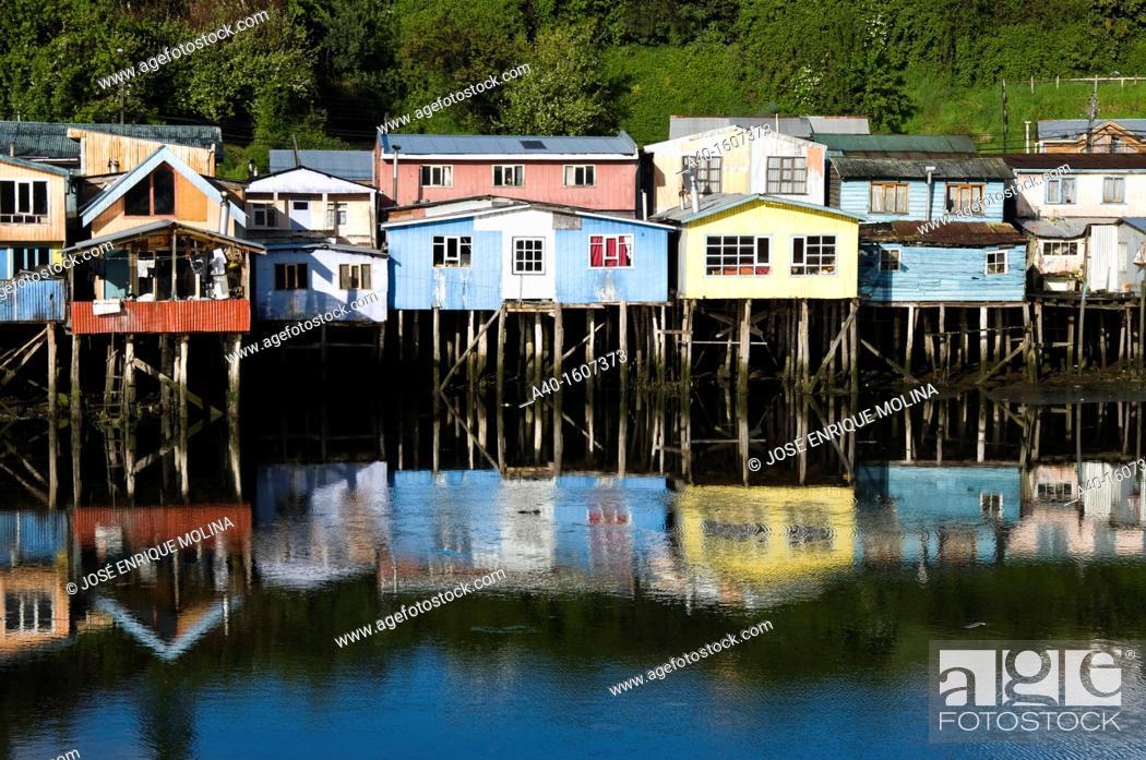 Stock Photo: Chile. Chiloe island. Stilt houses in Castro city.