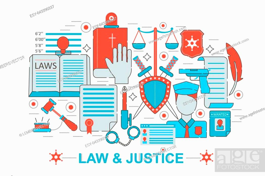 Stock Vector: Modern Flat thin Line design Law and justice concept for web banner website, presentation, flyer and poster.