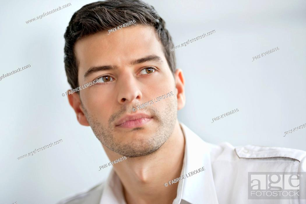 Stock Photo: Close-up of a businessman thinking.
