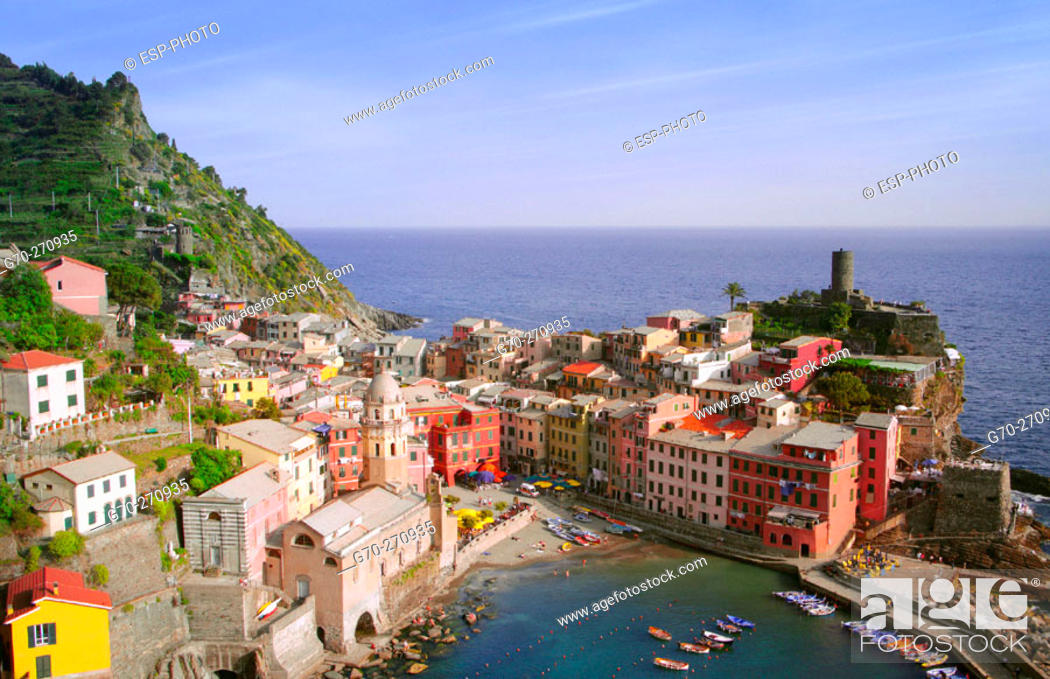 Stock Photo: Aerial View of City and Harbor , Vernazza, Cinque Terre, Italy.