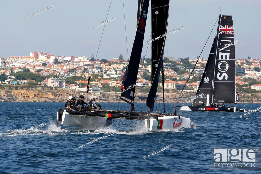 Stock Photo: Sailing: Extremesailing round 4 at Baia de Cascais, Cascais, Portugal.