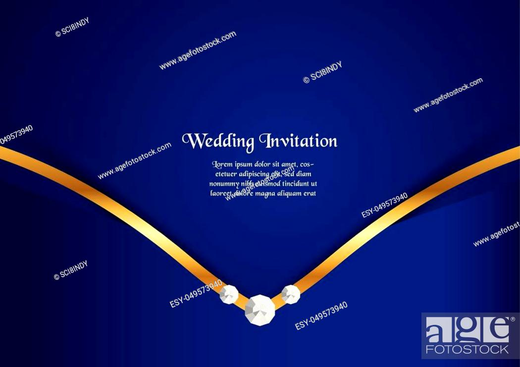 Vector: Abstract blue background in premium concept with golden border. Template design for cover, business presentation, web banner.