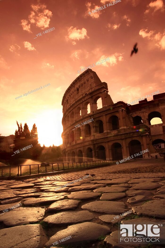 Stock Photo: Colosseum and Via Sacra, sunrise, Rome, Italy SUNSET FILTER.
