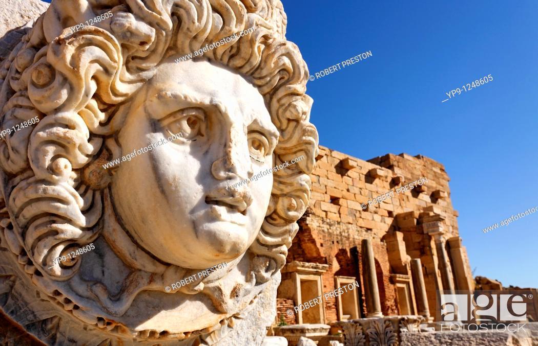 Stock Photo: Sculpted Medusa head at the Forum of Severus, Leptis Magna, Libya.