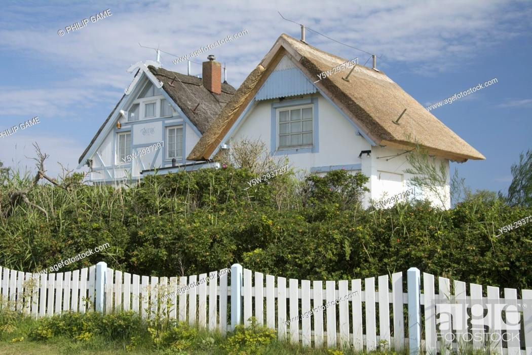 Stock Photo: Holiday cottage at Graswarder nature conservation reserve on the Baltic coast at Heiligenhafen, Holstein, Germany.