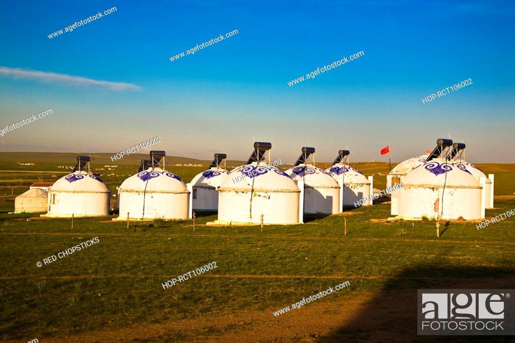 Stock Photo: Yurts on a landscape, Inner Mongolia, China.