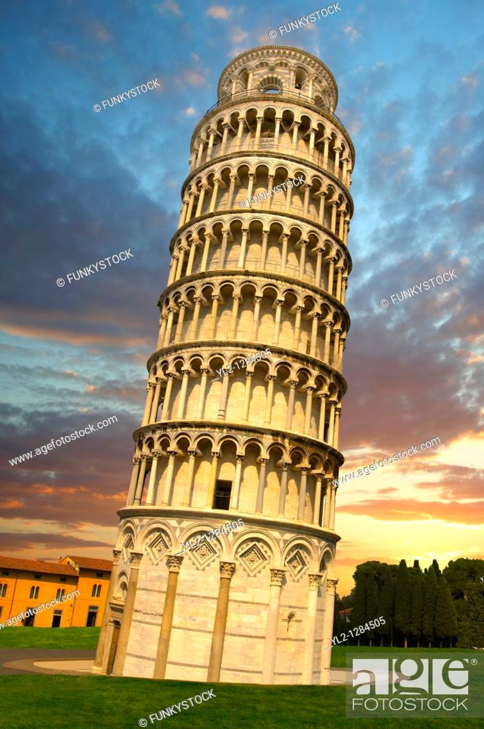 Stock Photo: Leaning Tower of Pisa - Pizza del Miracoli - Pisa - Italy.