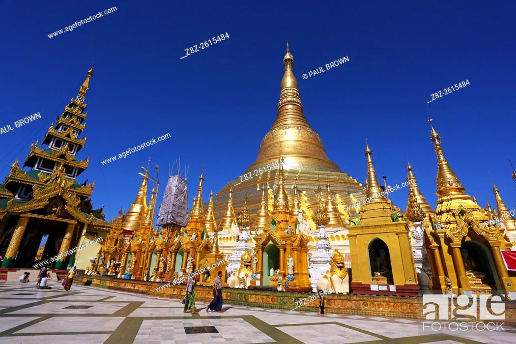 Stock Photo: Gold stupa and spires at the Shwedagon Pagoda, Yangon, Myanmar.