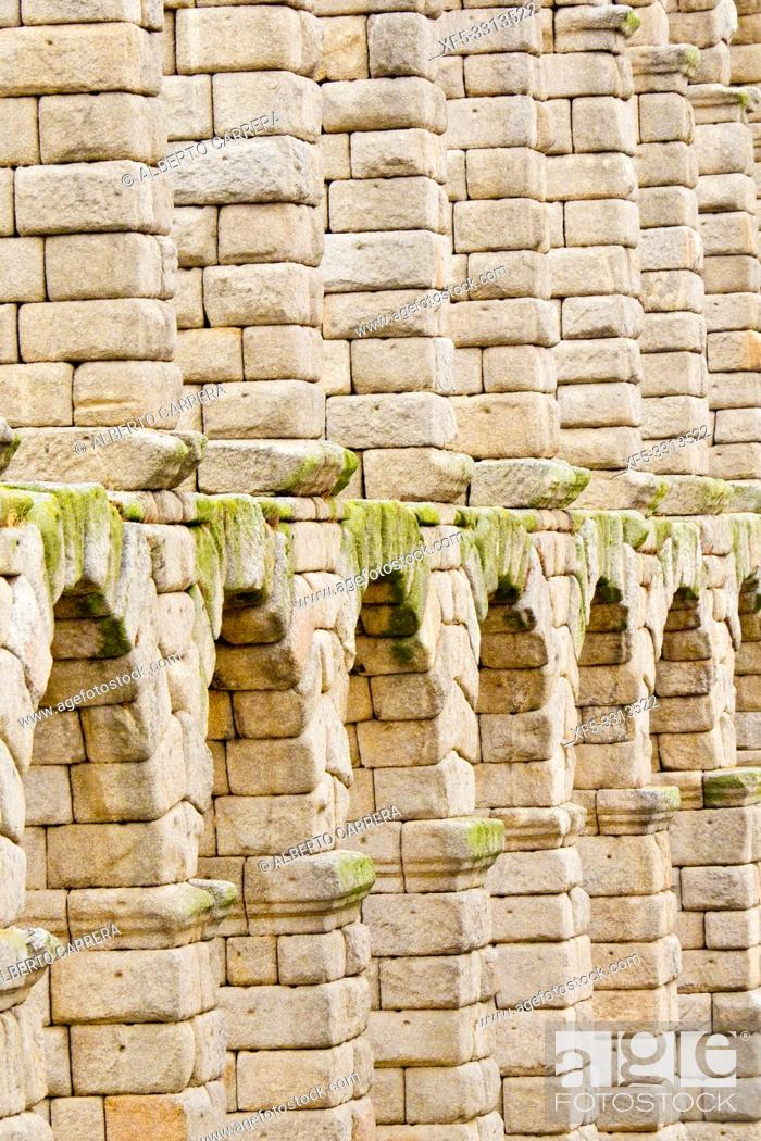 Stock Photo: Roman Aqueduct of Segovia, 1st Century A. D. , World Monument Fund, Segovia, UNESCO World Heritage Site, Castilla y León, Spain, Europe.