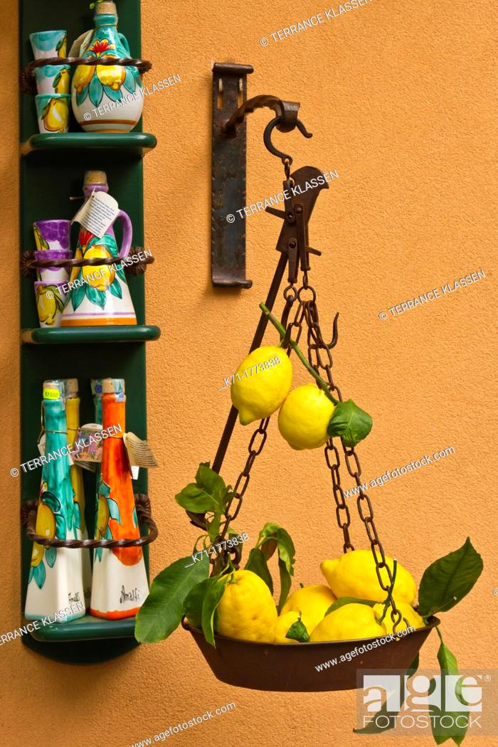 Stock Photo: A store with attractive lemon fruit displays on the street in the town of Amalfi on the Gulf of Salerno in southern Italy.