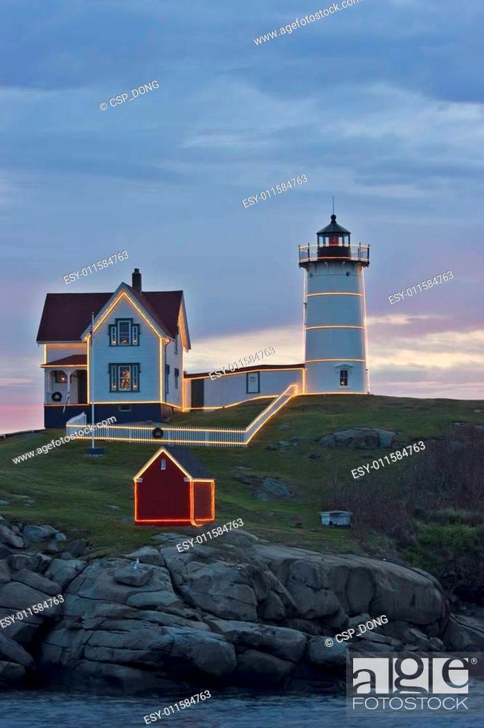 Stock Photo: Nubble Lighthouse.