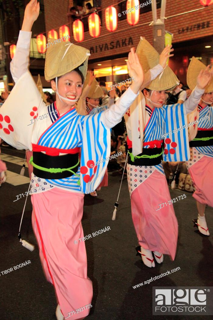 Stock Photo: Japan, Tokyo, Kagurazaka Matsuri, festival, Awa Odori, dancers, people,.