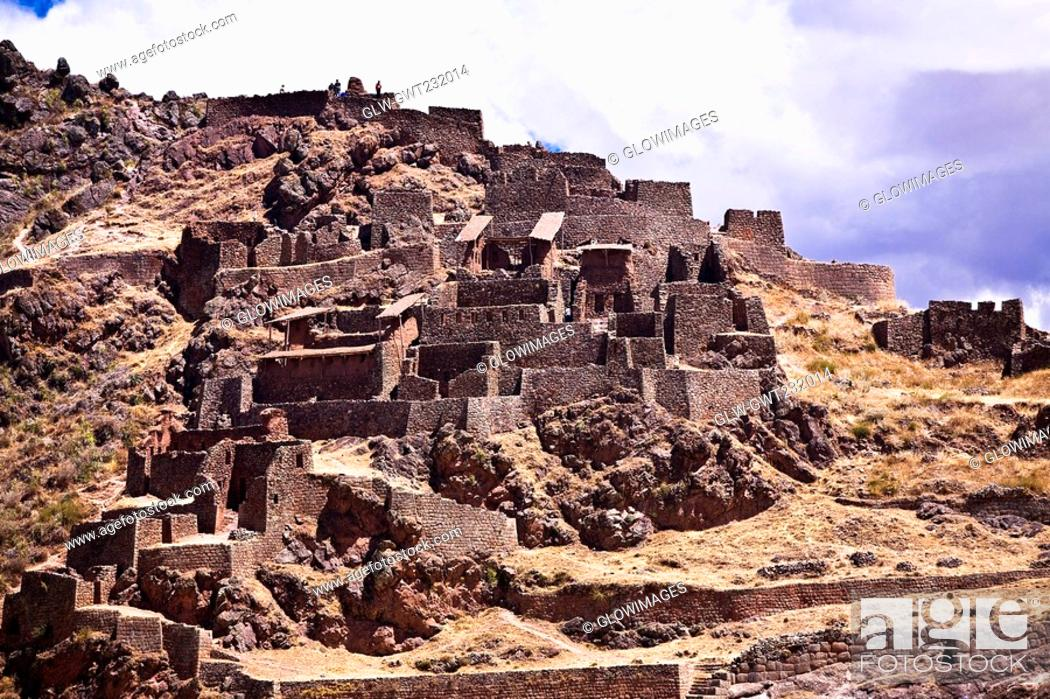 Stock Photo: Low angle view of ruins on a mountain, Pisaq, Urubamba Valley, Peru.