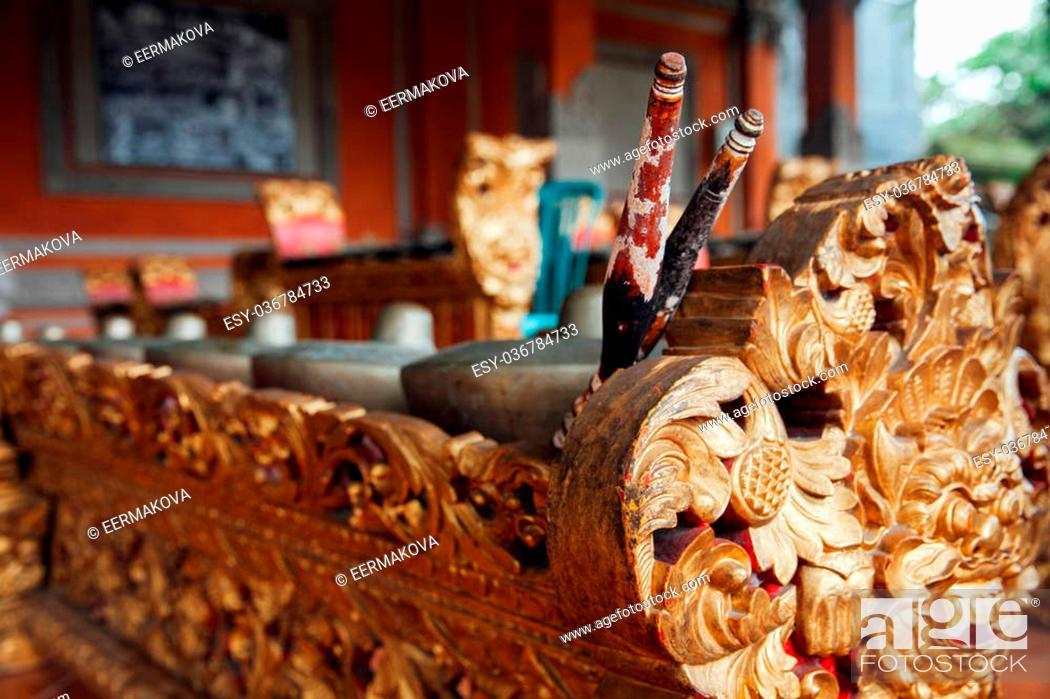 "Stock Photo: Traditional balinese percussive music instruments instruments for """"Gamelan"""" ensemble music, Ubud, Bali, Indonesia."