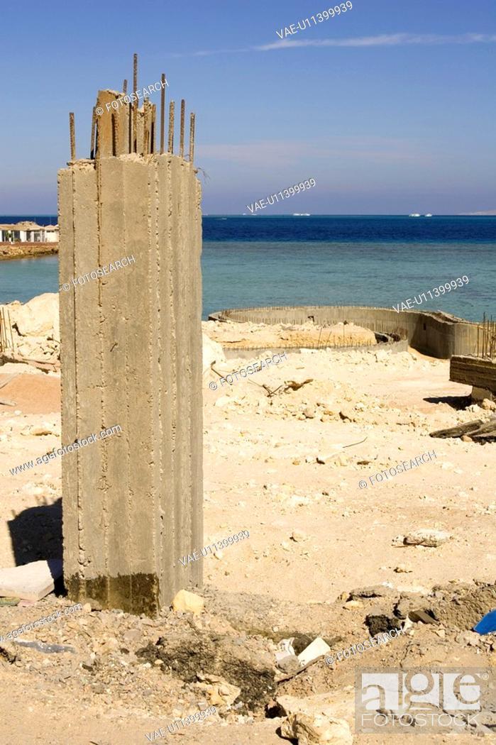 Stock Photo: Building, Coastal Feature, Column, Concrete, Construction.