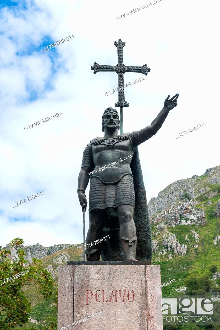 Stock Photo: Don Pelayo Statue, Covadonga, Picos de Europa National Park, Asturias, Spain. Historical Heritage Site.