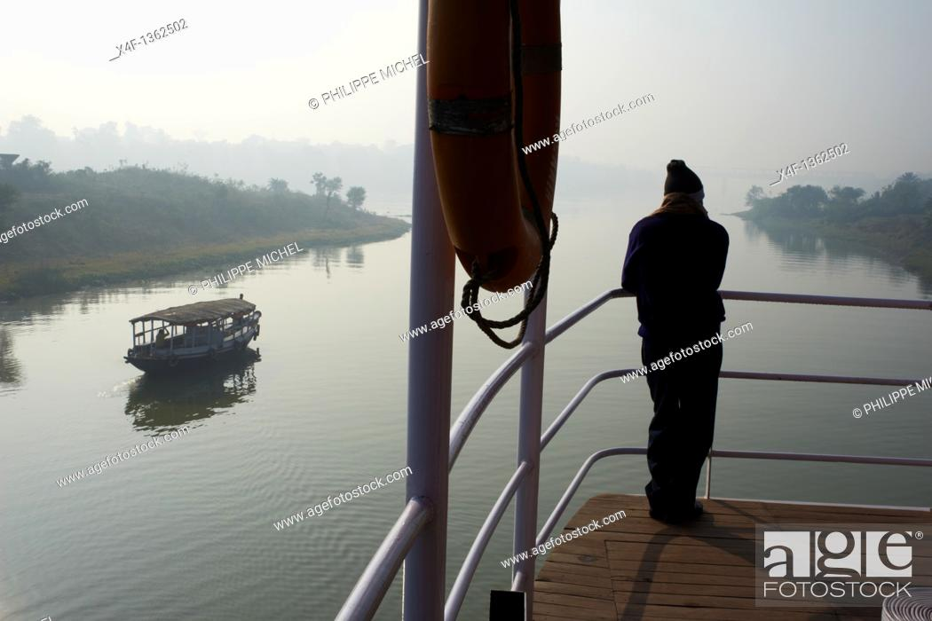 Stock Photo: India, West Bengal, Sukapha boat on the Hooghly river, part of Ganges river.