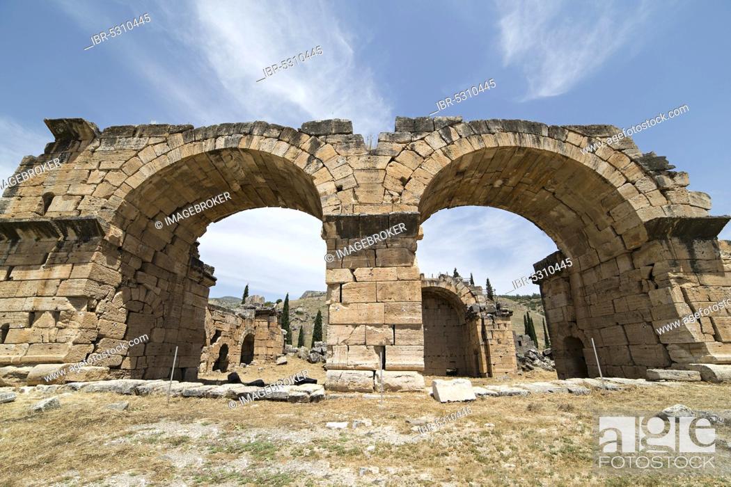 Stock Photo: The Basilica Baths in Hierapolis, Denizli, Turkey. Hierapolis was an ancient Greco-Roman city in Phrygia.