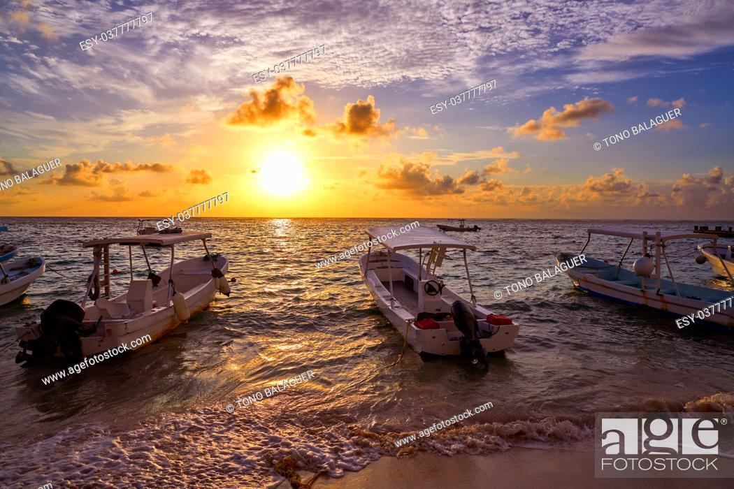 Stock Photo: Riviera Maya sunrise in Caribbean Mayan Mexico.