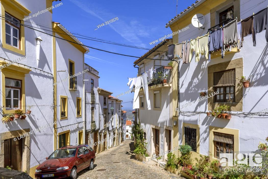Stock Photo: Narrow street in the Jewish quarter of Castelo de Vide village, Portalegre District, Alentejo Region, Portugal.