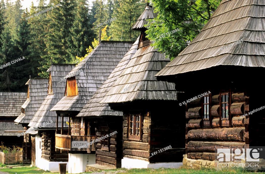 Stock Photo: Traditional wooden houses in the open air museum representing village of Orava region Muzeum oravskej dediny Zuberec - Brestova, Slovakia.