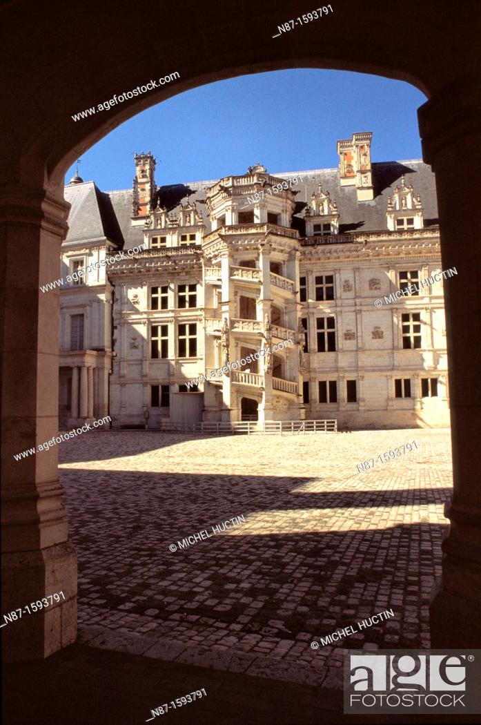 Stock Photo: spiral staircase of the castle of Blois.