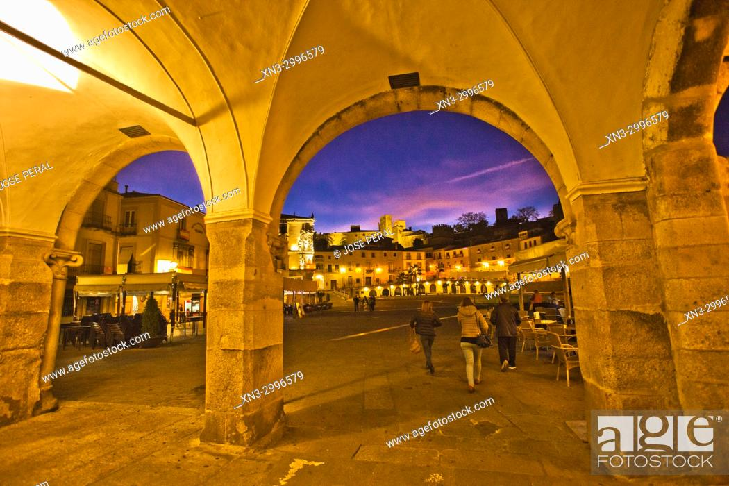 Stock Photo: Plaza Mayor, Main Square, Trujillo, Caceres Province, Extremadura, Spain, Europe.
