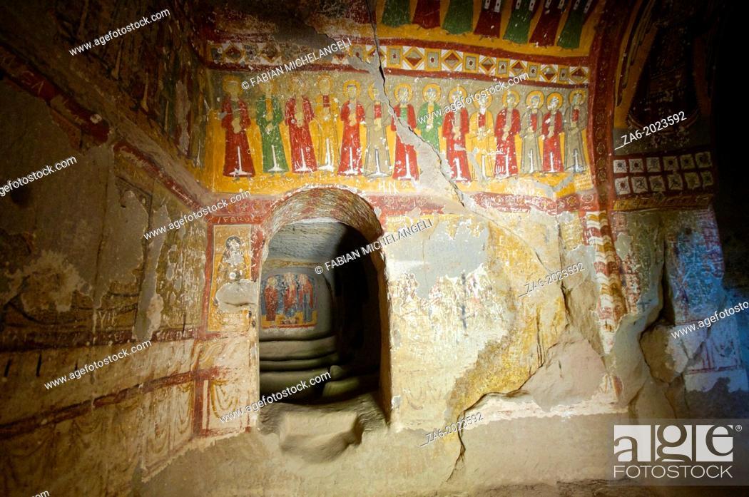 Imagen: Frescoes in Yilanli Church, ninth century, Church of the Snake, Ihlara Valley, Cappadocia, Central Anatolia, Turkey.