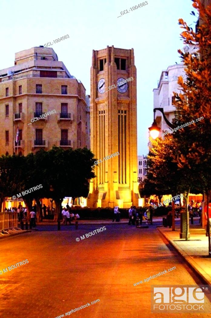 Stock Photo: Al Abd Clock tower, Beirut Down Town, Lebanon.