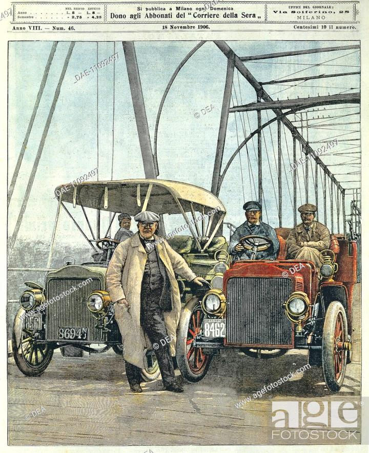The great American inventor, Thomas Edison test driving his motor ...