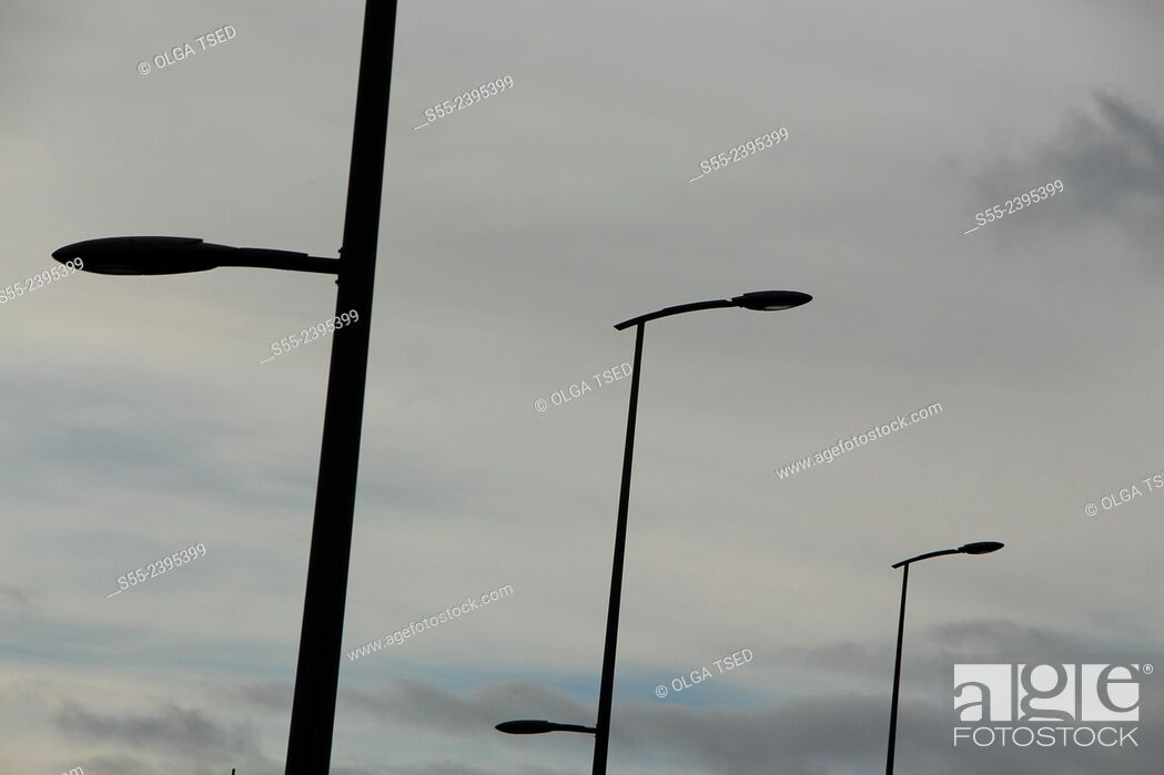 Stock Photo: Street lights. Nordeste, Sao Miguel island, Azores, Portugal.