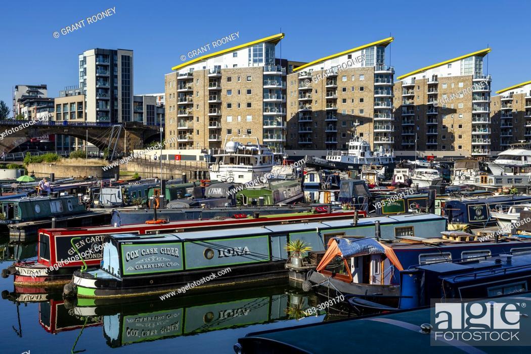 Stock Photo: Limehouse Marina, Limehouse Basin, London, United Kingdom.