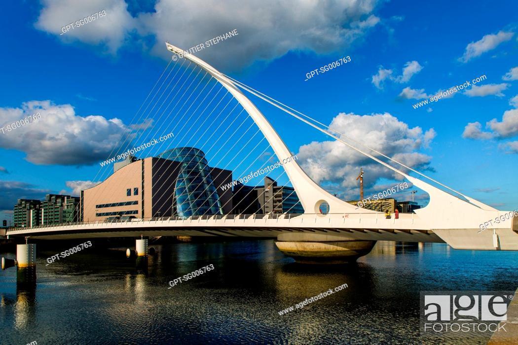 Stock Photo: SAMUEL BECKETT BRIDGE AND THE CONVENTION CENTRE DUBLIN (CCD), THE DOCKLANDS, DUBLIN, IRELAND.