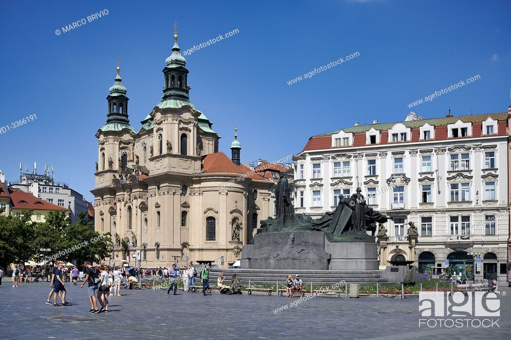Stock Photo: Prague Czech Republic. Old Town Square and Jan Hus monument.