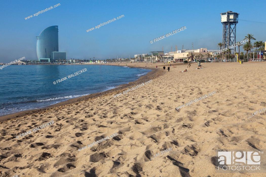 Stock Photo: Beach of Barceloneta with W-Hotel, Barcelona, Catalonia, Spain.