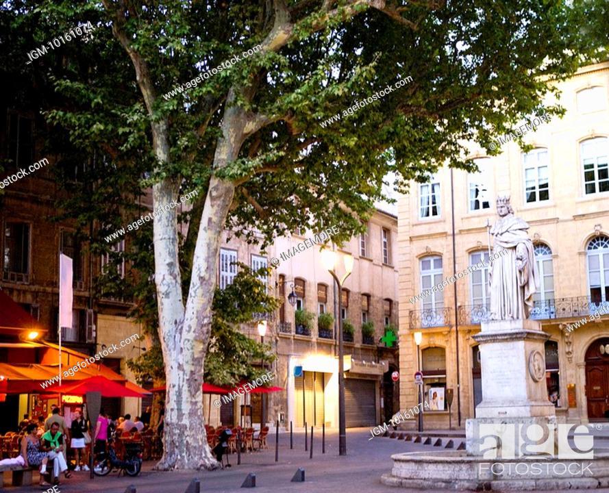 Stock Photo: Cours Mirabeau in Aix-en-Provence, Provence-Alpes-Cote d'Azur, France.