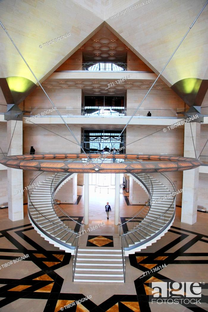 Stock Photo: Qatar, Doha, Museum of Islamic Art, interior, I M  Pei, architect,.