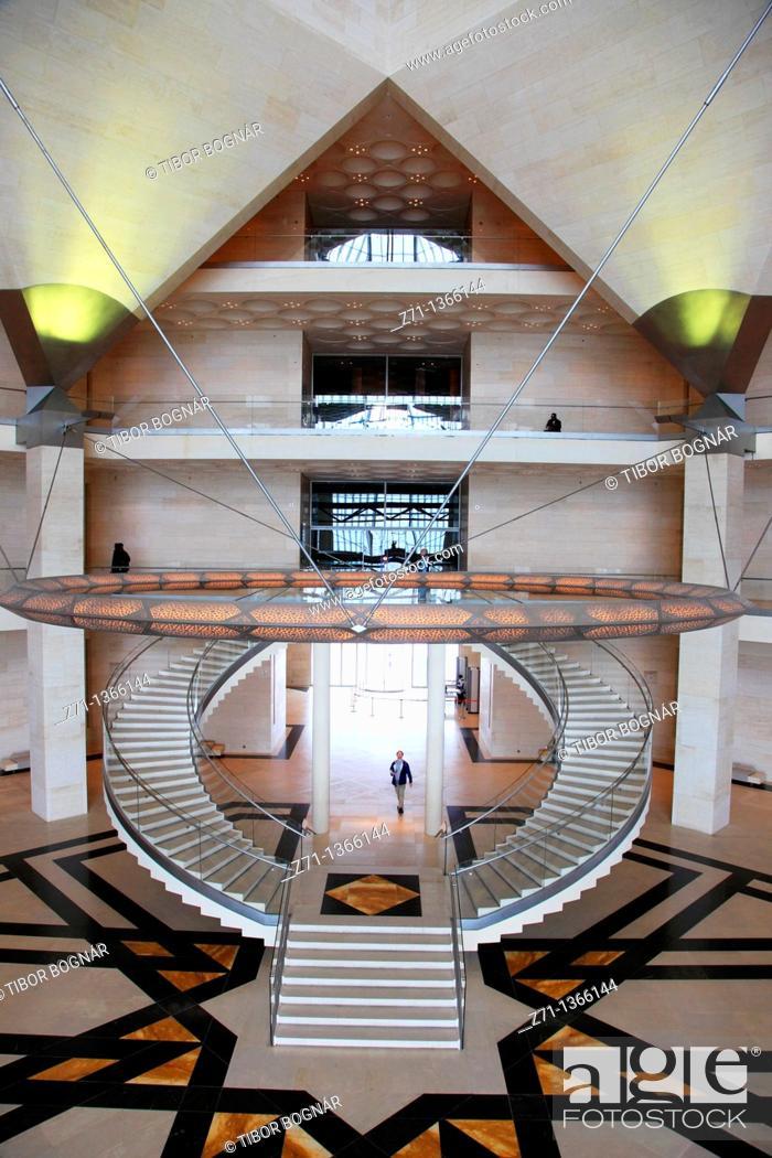 Stock Photo: Qatar, Doha, Museum of Islamic Art, interior, I M  Pei, architect,.
