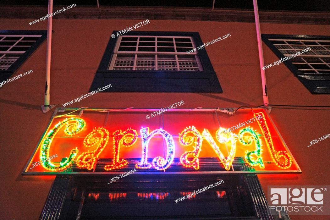 Stock Photo: neon lights Carnival. Santa Cruz de Tenerife.