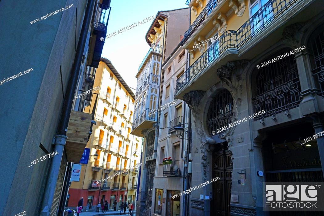Stock Photo: Pablo Monguio's Casa Ferran on Calle Nueva. Teruel, Aragón, Spain, Europe.