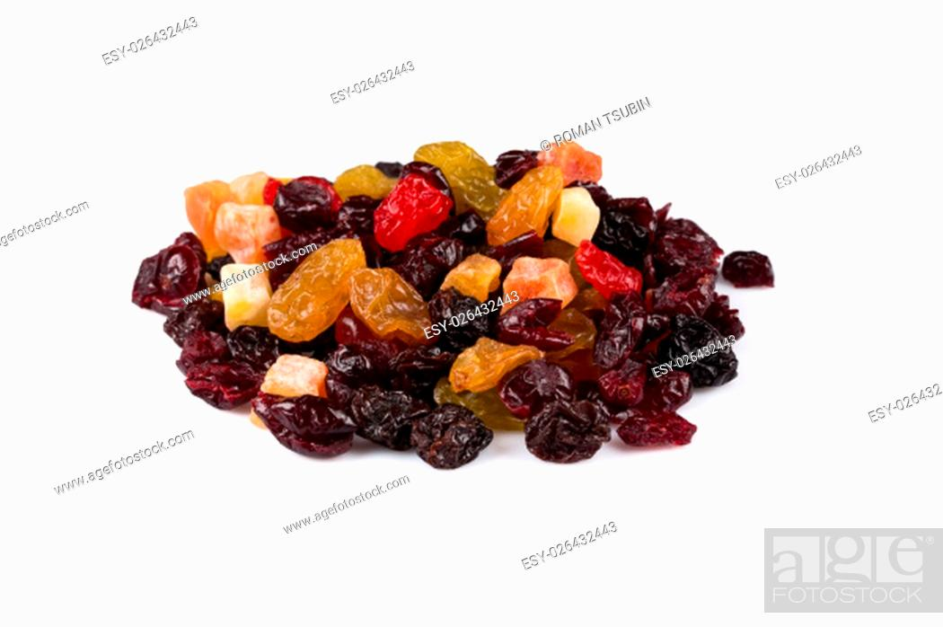 Stock Photo: Mix variety of dried fruit over white background.