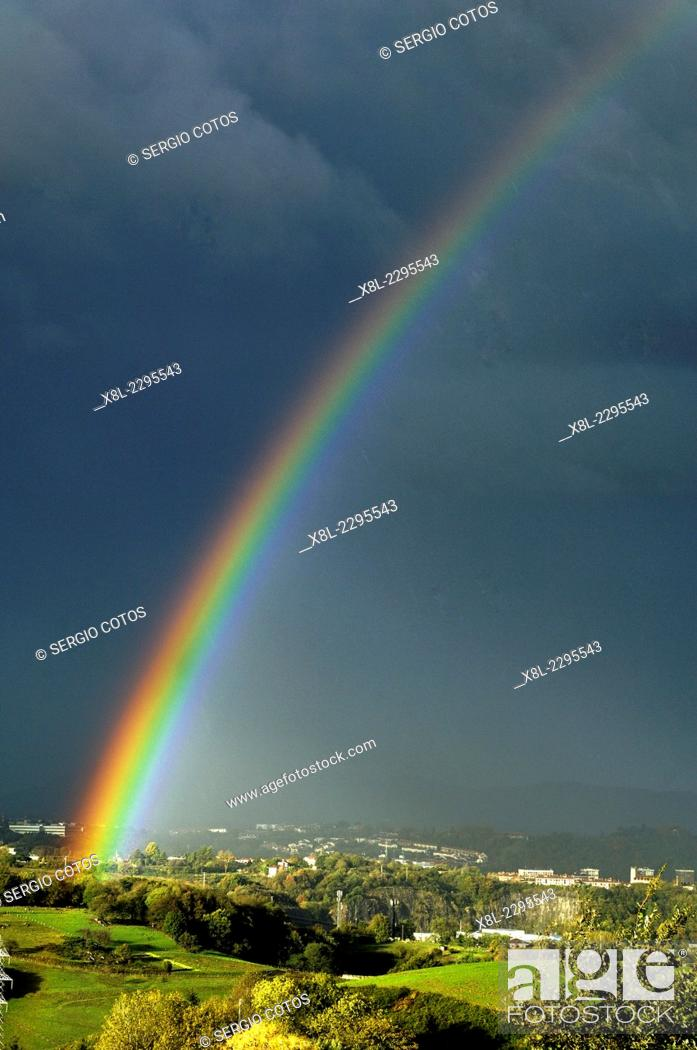 Stock Photo: rainbow in the Basque Country.