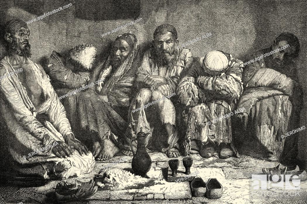 Photo de stock: Opium eaters, from Travels in central Asia 1863 by Armin Vambery. Old engraving El Mundo en la Mano 1878.
