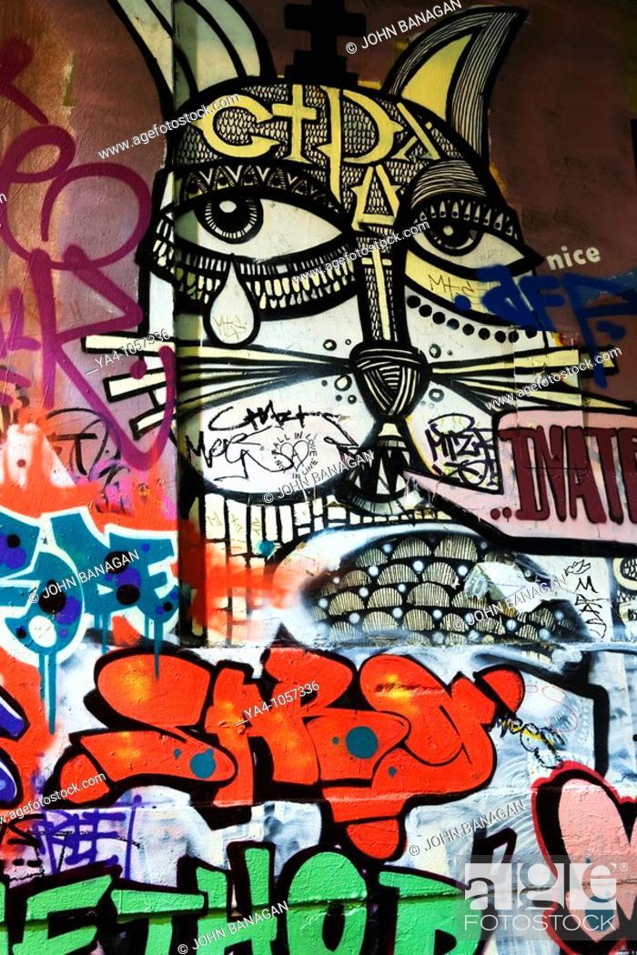 Stock Photo: Hosier lane , tourist sight for street art and graffiti.